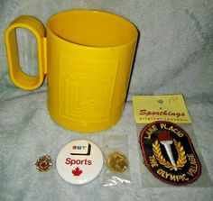 XIII 1980 WINTER OLYMPICS GAMES Lake Placid Mug, Pins & Patches ~ VERY RARE ~ XX please retweet