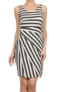Mystree Striped Wrapped Tank Dress.