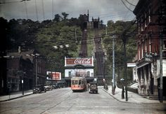 A view of two train tracks up Price Hill, Cincinnati.  1920-30's  Color autochrome photo