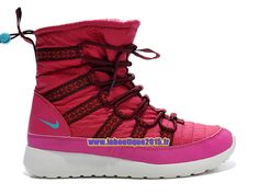 Nike Roshe One Hi GS - SneakerBoot Nike Pas Cher Pour Femme/Fille Rouge sportif/Rose arctique clair/Rose framboise/Noir 615968-601