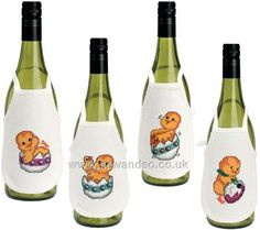 Buy Hatching Chicks Wine Bibs Cross Stitch Kit Online at www.sewandso.co.uk