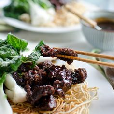 Mongolian Beef and Baby Bok Choy Stir-Fry with Crispy Chow Mein Noodles | Food & Wine