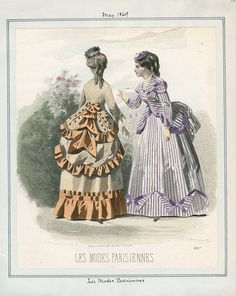 Les Modes Parisiennes Date: Saturday, May 1869 Victorian Era, Victorian Fashion, Vintage Fashion, Victorian Ladies, Victorian Dresses, French Fashion, 1870s Fashion, Dress Illustration, Historical Costume