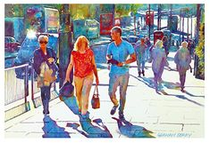 "London sunshine by Graham Berry Watercolor ~ 13.5"" x 20"""