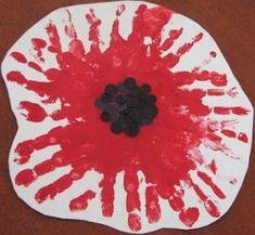 House of Baby Piranha: Anzac Day - Handprint Poppy Flower Happy Hooligans, Remembrance Day Activities, Remembrance Day Poppy, Daycare Crafts, Toddler Crafts, Crafts For Kids, Crafts Toddlers, Toddler Art, Poppy Craft For Kids