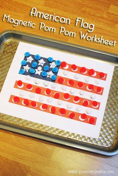 Free Printable American Flag Magnetic Pom Pom Worksheet Craft for Independence Day / 4th of July | directorjewels.com