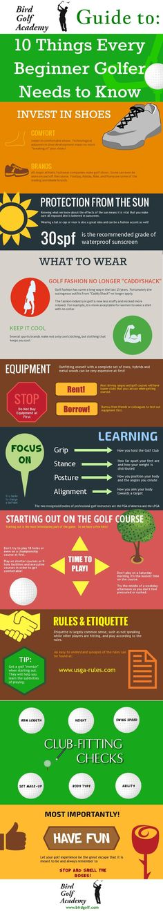 Golf can seem terribly complicated for someone who's just beginning the game.  The folks at birdgolf.com have put together a great guide to 10 things every beginner golfer should know.
