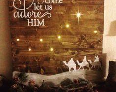 Nativity Scene Sign Nativity Scene Decor by WhippoorwillCharm