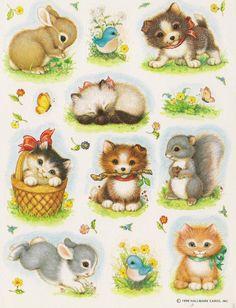 Vintage Adorable Animals Sticker sheet by hallamark My Childhood Memories, Best Memories, Baby Animals, Cute Animals, Cute Illustration, Vintage Pictures, Vintage Cards, Retro, Stickers