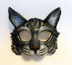 Gray Tabby Cat Leather Mask