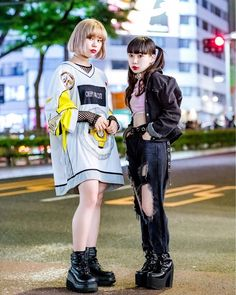 Japanese teens Sarah and Beni on the street in Harajuku wearing a mix of  resale and new fashion including a W. 1a52297150d9