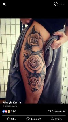 Tattoo Ideen Frauen - Best Tattoo Designs for Must visit here to see our best tattoo d. Dope Tattoos, Hand Tattoos, Tattoo Henna, Body Art Tattoos, Thigh Tattoos, Rose Tattoo Thigh, Tattoos Skull, Unique Tattoo Designs, Tattoo Designs For Women
