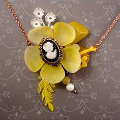 pendant made from old costume jewelry