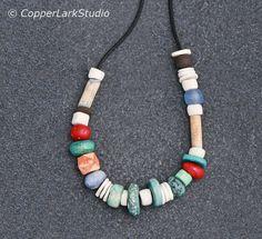 Artisan beaded necklace w/ handmade porcelain by CopperLarkStudio