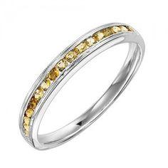 10k white gold citrine channel set birthstone ring