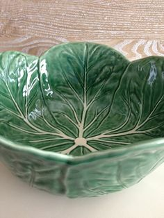 Large Bordallo Pinheiro Cabbage Leaf Bowl from billysbungalow