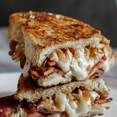 Crispy Bacon & Brie Grilled Cheese Sandwich With Caramelised Onions.