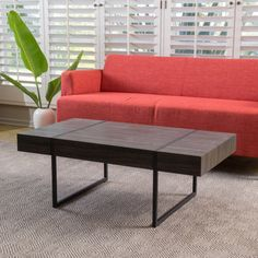 Black Sonoma Oak Laminated Hardwood Coffee Table
