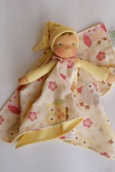 Organic Waldorf doll for baby natural materials cloth by LALIDOM