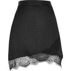 River Island Black satin lace hem mini skirt ($56) ❤ liked on Polyvore featuring skirts, mini skirts, black, women, lace mini skirt, lace miniskirt, mini skirt, lacy skirt and short wrap skirt
