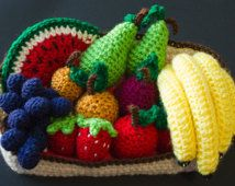 Hand crocheted fruits basket,fruit basket,home decor