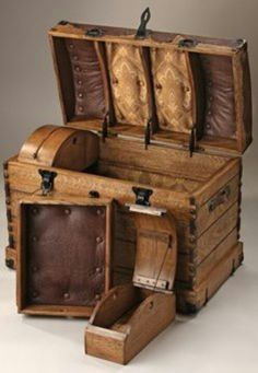 """Camel Back Trunk - The lost art of steam bending wood is used to hand craft this unique and stunning """"true"""" camel back trunk. Premium quarter sawn white oak constructed into destinctive peg corner design, complimented with supple ostrich leather top. Vintage Chest, Vintage Trunks, Vintage Suitcases, Vintage Luggage, Antique Trunks, Vintage Box, Old Trunks, Trunks And Chests, Wooden Trunks"""