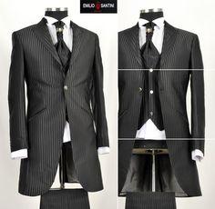 *259* OUTLET-SALE 8-teiliger Designer Gehrock Hochzeitsanzug in Schwarz Gr.44 46