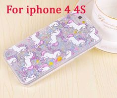 "Cartoon Unicorn Horse Dynamic Paillette Glitter Stars Water Dynamic iquid case for iPhone 5 5s 6 6s 6plus 5.5"" Hard Case Cover"