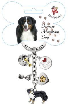 Bernese Mountain Dog Enamelled Charm Keyring