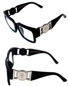 b04047029749 424 Medusa Silve rMetal Logo Coin Horn Rimmed Clear Lens Eye Glasses Hip  Hop Blk