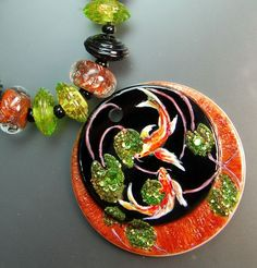 TRIZASDESIGNS- Handmade fused glass lampwork bead REF- LB0662-SRA-