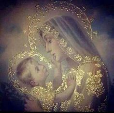 Beautiful picture of Blessed Virgin Mary and baby Jesus. Divine Mother, Blessed Mother Mary, Blessed Virgin Mary, Religious Pictures, Religious Icons, Religious Art, Image Jesus, Queen Of Heaven, Sainte Marie