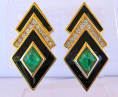 Christian Dior Black Enamel And Green Gripoix Glass Clip Back Earrings