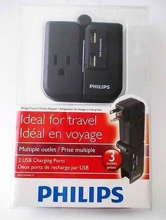 Philips Travel 3 Outlet Adapter with 2 USB Charging Ports SPS2150WA - $7
