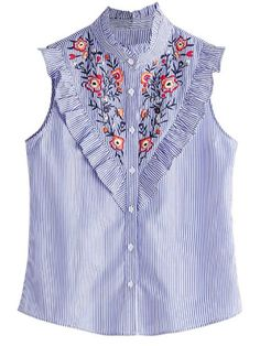 17a71566f3c62 Floerns Women s Vertical Striped Ruffle Floral Embroidery Blouse Shirts  Blue M.