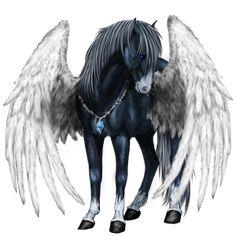 London Bells, Pegasus Thoroughbred Dapple Gray - Howrse US Pegasus, Cute Horses, Beautiful Horses, Magical Creatures, Fantasy Creatures, Rock Kunst, Mystical Animals, Winged Horse, Unicorn Art