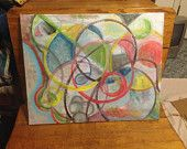 """Circles on Canvas 20""""X16"""" 1"""" thick, acrylic paint FREE SHIPPING"""