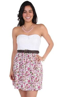 Deb Shops strapless embroidered #eyelet print belted casual #dress
