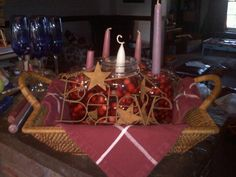this year's Advent Wreath...using Mason Jars and wrought iron : )