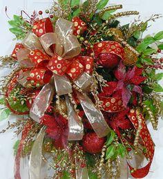 CHRISTMAS DOOR WREATH Christmas Elegance with a by LadybugWreaths http://www.LadybugWreaths.com