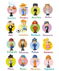 Cartoon characters of different professions - Stock Vector , Spanish Worksheets, Spanish Vocabulary, Spanish Language Learning, Teaching Spanish, Spanish Basics, Spanish Lessons, Spanish Teacher, Spanish Classroom, Spanish Words