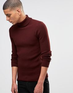 ASOS+Muscle+Fit+Ribbed+Roll+Neck+In+Burgundy