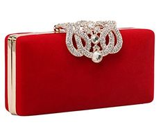 Generic Women's Ladies Luxury Crystal Diamond-Encrusted Shell Wallet Evening Bag (Red) ** Want additional info? Click on the image.