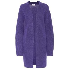 Acne Studios Raya Wool and Mohair-Blend Cardigan (€390) via Polyvore featuring tops, cardigans, blue, blue top, cardigan top, acne studios, navy cardigan und navy blue cardigans