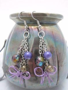 Purple Bow Dangle Earrings by GoosesGoldenEggs on Etsy, $12.00