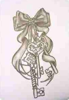 Bow and keys tattoo. On the backside of a woman's upper thigh.