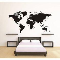 Muursticker Wereldkaart - Map of the world