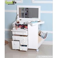 China New design wheeled wooden makeup cabinet with mirror in white GLD08082 factory