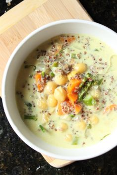 Moroccan Coconut Soup with Red Quinoa and Chickpea (only 20 minutes to cook, could precook grains, or this whole soup, the night before) Soup Recipes, Vegetarian Recipes, Healthy Recipes, Healthy Meals, Healthy Food, I Love Food, Good Food, Organic Soup, Quinoa Soup