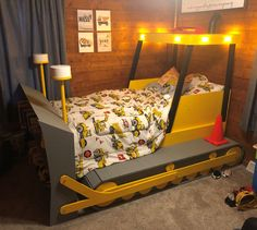 Twin Size Bulldozer Bed PLANS (pdf format), Create a Construction Themed Bedroom for your Child, Perfect for the DIY Woodworking Enthusiast Twin Beds For Boys, Kid Beds, Construction Theme Bedroom, Bedroom Themes, Bedroom Decor, Bedroom Ideas, Diy Toddler Bed, Woodworking Enthusiasts, Bed Dimensions